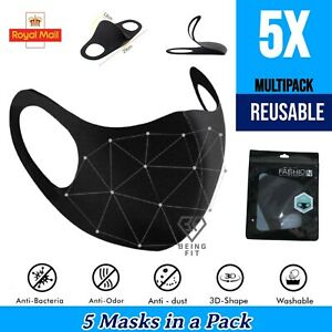 5 Face Mask Breathable Reusable Washable Mouth Nose Protection Cover PPE Unisex