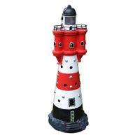 LED Solar Leuchtturm 50 cm | Garten Leuchtfeuer Rot Weiß | Deko Beleuchtung