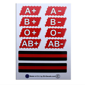 THIN RED LINE & Blood Types 10X Laminated Decals Stickers USA Firefighter helmet