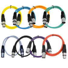 Seismic Audio - 8 Pack of Colored 2 Foot XLR Patch Cables - 2' Mic Patch Cords