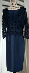 Navy Blue Hand Made Mother Of The Bride Dress 16 Lace Polyester Shantung Peplum