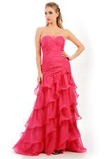 HBH bodenlange Abendkleid mit Perlen bestickt,Reißverschluss,Farbe:Pink,Gr.34-44