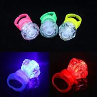 10X LED Diamond Light Up Flashing Finger Rings Glow Party Glow Kids Toy