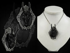 Restyle Halskette Brosche SET Reh Deer Schädel Hörner Gothic Skull Witchy Nugoth