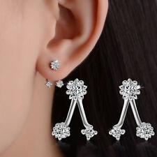Women Lady Elegant 925 Sterling Silver Austrian Crystal Star Ear Stud Earrings