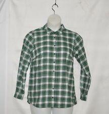 Joan Rivers Button Front Plaid Shirt Size 1X Green