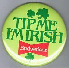 """Old Budweiser Beer Advertising 3"""" Pinback Button Irish St Patricks Day Shamrock"""