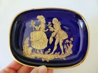 "La Seynie Limoges Cobalt Blue Dish, 22k Gold ""Courting Couple"", French, Vintage"