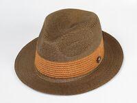 Men Summer Straw Style Hat BRUNO CAPELO Stingy Fedora Snap Brim BW842 Rust Brown