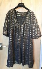French Connection SILK Black Gold Metallic Bubble Sleeve Dress BWNOT Size UK16