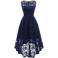 US Women Lace Formal Sleeveless High Low Cocktail Bridesmaid Evening Prom Dress