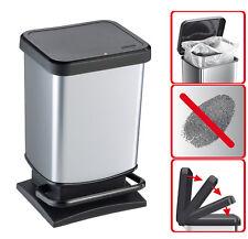 Rotho 1754010264 Geruchssicherer Abfalleime(20 Liter Silber Metallic)