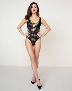$845 NEW Agent Provocateur Rayna Teddy Body Top Black Lace Lingerie Intimates