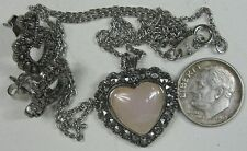 "Vintage Necklace & Earring Set~Silvertone With Hart Pendant 18"" Long Avon"