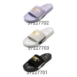 Puma Leadcat FTR Suede Classic Gold Logo Men Women Slide Slippers Pick 1