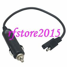SAE 2 Pole Flat Plug to Cigarette Lighter Socket 18AWG 1FT Wire for Car solar