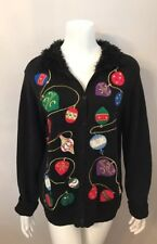 Investments Black Chenille Collar Ornament Embroidered Ugly Christmas Sweater L