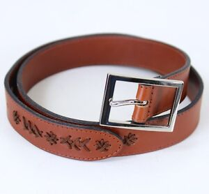 Cole Haan Brown Leather Belt 28-32 inch Stitched Cord Detail Silver Tone Buckle