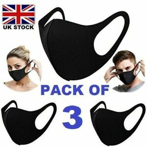 3 x Face Mask Protective Covering Washable Reusable Black Adult Unisex-PACK OF 3