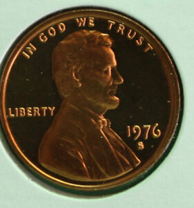 1976 S Lincoln Penny One-Cent Proof U.S. Mint Copper Coin 1c from Proof Set