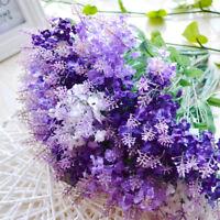 1x Artificial Bouquet Lavender Fake Flowers Plastic Home Wedding Party Decor