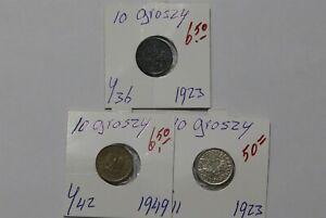POLAND 10 GROSZY 1923 + 1923 + 1949 B38 CG1