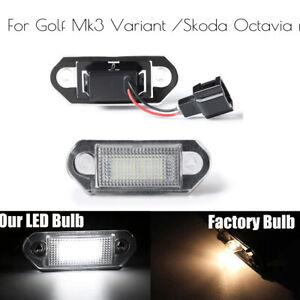 Pair LED License Number Plate Light Lamp Bulbs For VW Golf MK3 Skoda Octavia