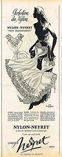 PUBLICITE ADVERTISING 124  1957  NYLON-NEYRET   lingerie combinaisons sous vete