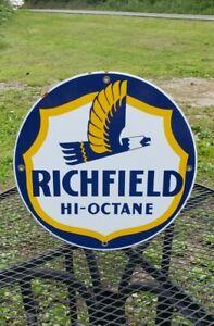 RICHFIELD GASOLINE HI OCTANE porcelain metal sign gas pump plate man cave garage