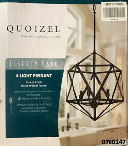 Quoizel Liberty Park 18-in Bronze Industrial Multi-Light Geometric Pendant