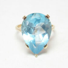 Estate 14K Yellow Gold 14.50 Ct Natural Pear Shape Swiss Blue Topaz Ring