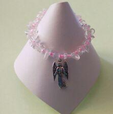Quartz Natural Gemstones Chips Beads Archangel Saint Samuel Stretchy Bracelet
