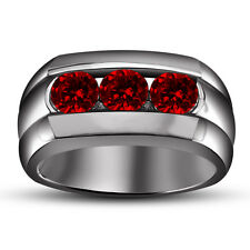 0.70 ct.tw. Rd Red Garnet Black Gold Fn 925 Silver Three-Stone Men's Band Ring