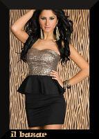 vestito donna mini abito corto paillettes balza 2 colori tg S,M,L