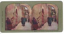 Via Dolorosa, Russian Pilgrim Kissing the Holy Stone, Color Stereoview