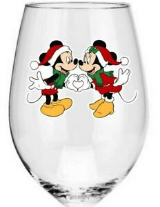 x9 Kissing Christmas Minnie and Mickey wine glass vinyl decal stickers Colour