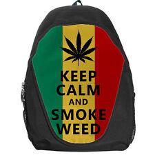 Keep Calm & Smoke Weed Bob Marley Reggae Rasta Flag School Bag Backpack Day Pack