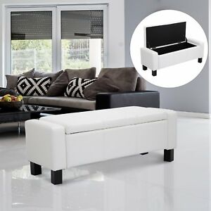 HOMCOM Bedroom Storage Bench PU Leather Seat Ottoman Hallway White
