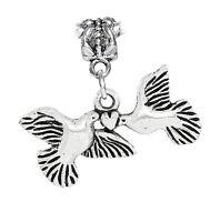 Heart Doves Wedding Birds Marriage Love Dangle Charm for European Slide Bracelet