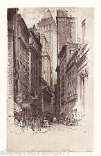 NEW YORK Treasury Street Old AUTO CAR Pedestrians Vintage 1929 MATTED Picture