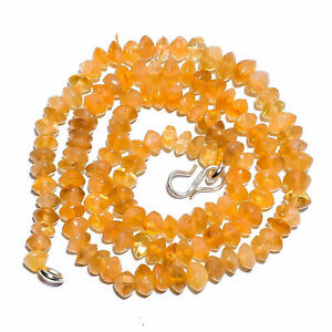 """Natural Yellow Citrine Gemstone 925 Sterling Silver 17"""" Strand Necklace BN-71"""