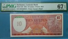 1982 Suriname 10 Gulden PMG67 EPQ SUPERB GEM UNC <P-126>