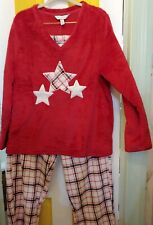 NWT Charter Club Intimates 2 Piece Plush PJ Set Red with Star Print XL