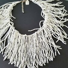 """New White Necklace Fringe Seed Bead Bib 17"""" to 20"""""""