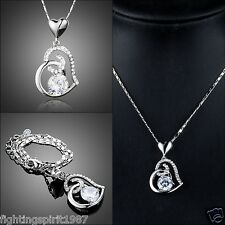 Herz Damen Halskette + Swarovski Element versilbert Silber + Original Design 318