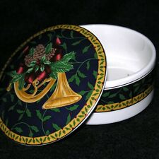 Mikasa Holiday Music Pattern Round Christmas Trinket Box French Horn Holly