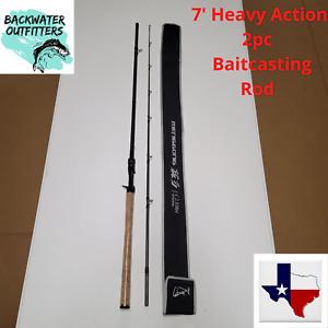 7' Heavy Moderate Action 2pc Carbon Fiber Baitcasting Rod w/ Ceramic Guides