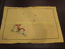 Vintage Embroidered Gnomes Pillowcase Yellow Orange Japan Zip Sham Stars Border