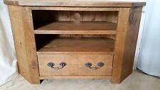 REAL SOLID WOOD CORNER TV CABINET ENTERTAINMENT UNIT RUSTIC PLANK PINE FURNITURE