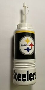 Vintage PITTSBURGH STEELERS Water Bottle Cup With Straw NFL